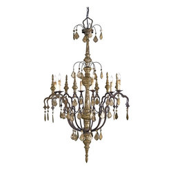 Currey and Company - Currey and Company CNC-9074 Graycliff Traditional Chandelier - The warm natural materials of wood and wrought iron of the Graycliff Chandelier are highlighted by a distressed silver leaf finish combined with a complementary rust.