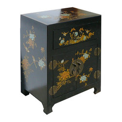 Golden Lotus - Chinese Black Leather Surface Flower Bird Motif Nightstand End Table - Look at this Chinese black nightstand end table hand paint side cabinet which is made of elm wood and the outside of cabinet is wrapped artificial leather, and the inside of cabinet has Chinese calligraphy on it.