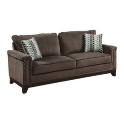 Coaster - Mason Sofa, Chocolate - Bring casual comfort and modern simplicity to your living room with our Mason collection. Featuring removable fiber filled back cushions and attached seat cushions with a solid wood trim and frame and individually placed nailheads. This collection brings a subtle personality to the room, but allows for easy matching with its neutral chocolate velvet exterior. Pair this set with a storage ottoman that also has a matching wood frame and nailhead trim.