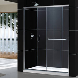 """BathAuthority LLC dba Dreamline - Infinity-Z Frameless Sliding Shower Door, 56 - 60"""" W x 72"""" H, Clear Glass - The infinity-Z sliding shower door delivers a classic design with a fresh attitude. Features of convenience like a handy towel bar and fast release wheels that make cleaning the glass and track a cinch are combined with the modern appeal of a frameless glass design. Choose the simply sophisticated style of the infinity-Z sliding shower door."""