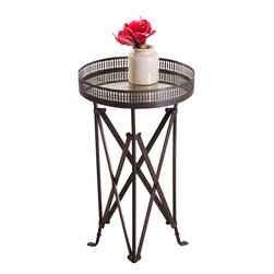 Accordian Side Table - Burnt Wax - Product Features: