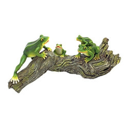 EttansPalace - Frog Family Home Garden Statue Sculpture - Make your pond or shade garden something to croak about with this playful army of green tree frogs gathered on a favorite log. Cast in quality designer resin exclusively for us at, the adorable jumpers in this imaginative animal sculpture are fully hand painted with naturalistic detail from mossy bark to bright green frog legs!