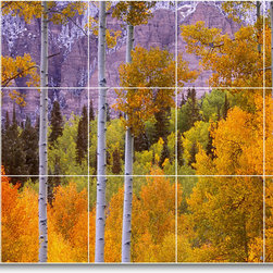 Picture-Tiles, LLC - Trees Leaves Picture Mural Tile T032 - * MURAL SIZE: 24x40 inch tile mural using (15) 8x8 ceramic tiles-satin finish.