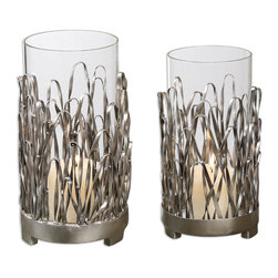 None - 'Corbis' Silver Finish Candle Holders (Set of 2) - Hand forged metal with a silver finish and light champagne highlights make up this set of two candle holders. Distressed beige candles are included in this set.