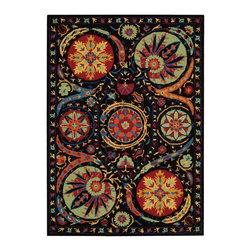 "Nourison - Contemporary Suzani 3'9""x5'9"" Rectangle Black Area Rug - The Suzani area rug Collection offers an affordable assortment of Contemporary stylings. Suzani features a blend of natural Black color. Handmade of 100% Wool the Suzani Collection is an intriguing compliment to any decor."
