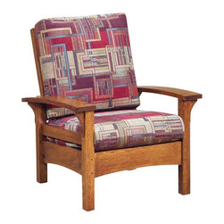Chelsea Home Furniture - Chelsea Home Marietta Chair - Esquire Standard - Perfect for your rustic style sun room or living room, the Marietta set in White Quarter Sawn Oak with Michael's Cherry finish is both functional and comfortable. The horizontal slatted seat back gives a clean look and sturdy construction to this set. Customize your furniture and relax in the comfort of plush upholstered zippered cushions available in standard or premium fabrics and a quality leather option. Chelsea Home Furniture proudly offers handcrafted American made heirloom quality furniture, custom made for you. What makes heirloom quality furniture? It's knowing how to turn a house into a home. It's clean lines, ingenuity and impeccable construction derived from solid woods, not veneers or printed finishes over composites or wood products _ the best nature has to offer. It's creating memories. It's ensuring the furniture you buy today will still be the same 100 years from now! Every piece of furniture in our collection is built by expert furniture artisans with a standard of superiority that is unmatched by mass-produced composite materials imported from Asia or produced domestically. This rare standard is evident through our use of the finest materials available, such as locally grown hardwoods of many varieties, and pine, which make our products durable and long lasting. Many pieces are signed by the craftsman that produces them, as these artisans are proud of the work they do! These American made pieces are built with mastery, using mortise-and-tenon joints that have been used by woodworkers for thousands of years. In addition, our craftsmen use tongue-in-groove construction, and screws instead of nails during assembly and dovetailing _both painstaking techniques that are hard to come by in today's marketplace. And with a wide array of stains available, you can create an original piece of furniture that not only matches your living space, but your personality. So adorn your home wit