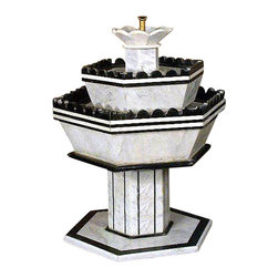 MBW Furniture - Vintage Mediterranean Mosaic Italian Marble Patio Garden Water Fountain Pond - Italian marble construction Hand crafted Casters for easy mobility Extremely heavy Breaks down into sections  Traditional style Condition:  Some areas may have imperfections such as blemishes, chips & discoloration but they only add patina to the fountain. Though a pump is attached underneath it, it may not work, also it would need a standard US ac plug for operation. You will need aquarium cement to make the pieces water tight in some areas and to attach parts of them as they are being held by transparent tape..Sold as is.
