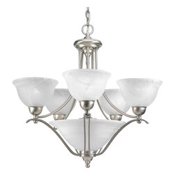 Progress Lighting - Progress Lighting P4069-09 Five-Light Chandelier With Alabaster Glass Shades - Five-light chandelier with swirled alabaster glass. Three-light downlight in bowl.