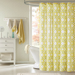 ID-Intelligent Designs - Intelligent Design Alana Yellow Geometric Shower Curtain - Alana is covered in a yellow geometric inspired print atop a bold white backdrop. This shower curtain is a great way to brighten up your bathroom and add a charming touch.