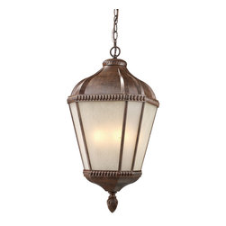 z lite - Weathered Bronze And White Seedy Glass Exterior Hanging 3 Light Fixture - Condition: New - in box