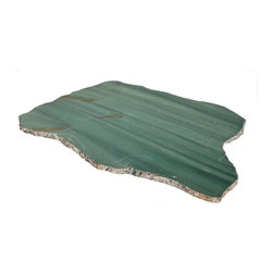 Kiva Serving Platters - Emerald Quartz/Silver - Meditative deep greens streak the translucence of the Emerald Quartz Kiva Serving Platter, adding a chic and considered element of pure natural opulence to a tablescape in your transitional home. Fine silver edging enhances the rugged outer surfaces of the slab of irregular quartz, contrasting with the glassy-smooth polish of the stone's upper surface, while rubber feet and scratch-resistant durability lend practicality to this choice.