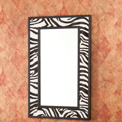 """Wildon Home � - Linden Wall Mirror - Don't resist the natural instinct to love this tempting zebra print mirror. This glamorous mirror will add flare to any wall and reflect light into the room. The large mirror surface allows for functionality and added light to a room, while the pattern playfully borders it. This animal print mirror adds fun flare to the living room, bedroom, hall or entryway. The finish works best in transitional to contemporary homes. Features: -Black frames finish. -Particle board, faux leather construction. -Large mirror surface. -Hangs vertically or horizontally. -4 Hanging hooks for simple, easy installation. -1 Year warranty. Dimensions: -Mirror surface: 24"""" H x 12"""" W. -32"""" H x 20"""" W x 1.5"""" D, 28 lbs."""