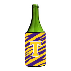 Caroline's Treasures - Monogram - Tiger Stripe - Purple Gold Initial T Wine Bottle Koozie Hugger - Monogram - Tiger Stripe - Purple Gold Letter T Wine Bottle Koozie Hugger CJ1022-TLITERK Fits 750 ml. wine or other beverage bottles. Fits 24 oz. cans or pint bottles. Great collapsible koozie for large cans of beer, Energy Drinks or large Iced Tea beverages. Great to keep track of your beverage and add a bit of flair to a gathering. Wash the hugger in your washing machine. Design will not come off.