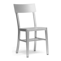 Aluminum Dinner Chair - With simple, modern lines and a wipe-clean surface, this seat is chic in its simplicity. Made of brushed aluminum, it's handsome, lightweight and sturdy for use on a shady patio or in your dining room.