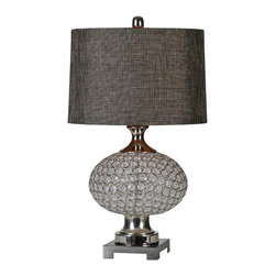 Ren-Wil - LampDelancey Collection - Crystal and metal make up the body of the Delancey lamp and is enhanced with a plated base, matching accents and rich linen shade.
