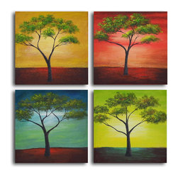 "My Art Outlet - African Trees In Season Hand Painted Canvas Wall Art - Size: 32"" x 32"" (16"" x 16"" x 4pc). Enjoy a 100% Hand Painted Wall Art made with oil and acrylic paints on canvas stretched over a 1"" thick inner wooden frame. The painting is gallery wrapped and ready to hang out of the box. A very stylish addition to any room that is sure to get the attention of guests."