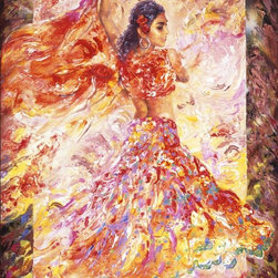 Murals Your Way - Spanish Dancer Wall Art - Wearing an outfit composed of swirls of hot colors, this lovely Spanish Senorita twirls her shawl in the air.