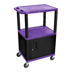Luxor - H Wilson Presentation Cart - WT42PC2E-B - H Wilson's WT Tuffy multi-purpose carts are made of high density polyethylene structural foam injection molded plastic shelves and legs that will not chip, warp, crack, rust or peel. Shelves and legs can be recycled.