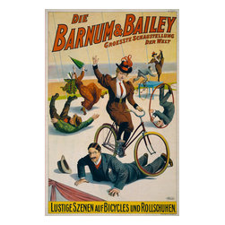 Barnum & Bailey Goes Germany, 1900 Print - Die Barnum and Bailey Groesste Schaustellung der Welt--Lustige Szenen auf Bicycles und Rollschuhen. This published by the Strobridge Litho. Co,. in 1900 Cincinnati and New York. Created as a chromolithographat 76x49 cm.Poster showing performers in street attire clowning with bicycles and rollerskates.Notes:No. 1900 B. No. 71.Printed in America.