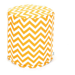 Majestic Home - Outdoor Yellow Chevron Small Pouf - Add comfort and flare to any room with Majestic Home Goods Indoor/Outdoor Small Pouf Ottomans. These small poufs can be used as a foot stool, side table or as extra seating in your home or backyard. The beanbag inserts are eco-friendly by using up to 50% recycled polystyrene beads. The removable zippered slipcovers are woven from Outdoor Treated polyester with up to 1000 hours of U.V. protection, and are machine-washable.