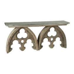 Arched Cathedral Table With Tin Top - I love, love this console. It looks like it was made form bits of an ancient church. I think I could design an entire room around this glorious piece. It just looks like Paris to me.