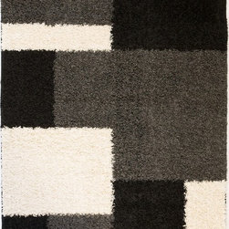 Infinity Home Source - Madison Shag Cubes Black 5' x 7'2'' Infinity Home Area Rug (7003) - Shag rugs that are fresh and lively perfect for Ultimate modern room setting.The pile is plush and is made of resilient polypropylene which is soft, durable and will remain in shape for years.