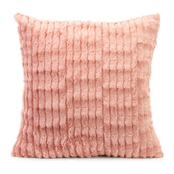 Gemma Faux Fur Pillow - In a blushing pink hue, the faux fur Gemma pillow adds a soft touch of color to any home.