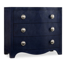 Hooker Furniture - Melange Blue Nile Chest - Like a favorite purse, the Blue Nile Chest with its faux croc midnight blue leather and chic silver knobs with beaded borders will become an indispensable part of your life.  Three drawers with wallpapered interior.