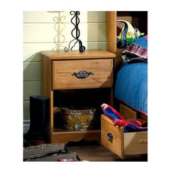 "South Shore - Night Stand w Antique Black Hardware, Roslind - The metal handles are durable and practical. The night table also have an extra storage space beneath. With a nightstand, your child can keep their alarm clock or lamp in arm�۪s reach for convenient use each evening! This rather attractive Roslindale night table is made out of particleboard and comes in a country pine finish. Finish off with a lamp or country style water vessel. * Manufactured from eco-friendly, EPP-compliant laminated particle boardcarrying the Forest Stewardship Council (FSC) certification. Constructed of particleboard with a Country Pine finish. Metal Handles in an Antique Black finish. Hinges are metal and adjustable. Assembly required. 5-year manufacturer's limited warranty. 24"" H x 18"" W x16"" D"