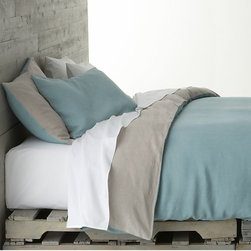 Azure Bed Linens - What do you think when you see this bedding? I think it feels relaxed and collected. It's not too formal yet still tailored. I think it's perfect.