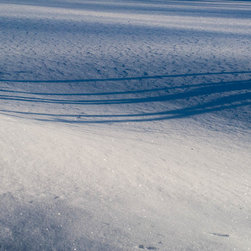 """Tree Shadow, 16x24"""" fine art color photograph - A study in blue as the shadow of a tree stretches across a curving snow bank. Available as a 16x24"""" limited edition fine art photograph, printed archivally on photo rag paper. Unframed."""