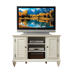Home Styles - Home Styles Bermuda Corner TV Stand - Home Styles - TV Stands - 554307 - Inspired by the fusion of British traditional and coastal design elements the Bermuda Collection highlights poplar solids and engineered wood in a refreshing multi-step textured brushed White finish.  Further inspiration can be found in the shutter doors and turned feet.  Ample component storage is provided in the space saving Bermuda Corner TV Stand's center compartment with two adjustable shelves as well as in the two storage cabinets each with two adjustable shelves.  Effectively hidden cable access points allow for neat wire management.