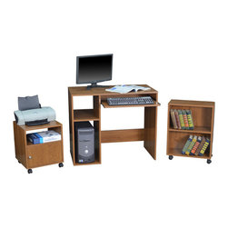 Regency - Regency Rta Office in A Box in Warm Cherry - Regency -Computer Desks -POIBWC -Create a compact workspace in your home or office with the RTA Office in a Box. It includes a desk mobile bookshelf and mobile printer cart. The desk is affixed with a roll-out keyboard tray and CPU box along with a storage shelf to store your work essentials. The mobile printer cart is perfect to place your printer and other documents. You can store your books magazines and display items in the mobile bookshelf. This elegant set in a warm cherry finish can blend in with a variety of decor styles.