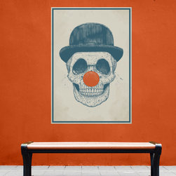 My Wonderful Walls - Clown Skull Wall Decal Sticker - Dead Clown by Balázs Solti, Small - - Product:  skull with derby hat and clown nose