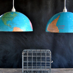 Amazing Pair of Pendant Lights by The Boomin Granny - Buy this pair of pendant lights or try your own DIY version with an old globe from eBay and a lighting kit.
