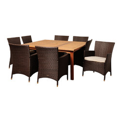 Amazonia - Wendy 9-piece Wood/ Wicker Outdoor Dining Set - The Wendy 9-piece dining set was crafted bearing leisure in mind. Constructed of solid eucalyptus wood and wicker for durability,this set is weather resistant and UV protected making it suitable for all year round use.