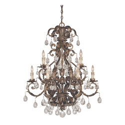 Savoy House - Chastain 9-Light Chandelier - Cast iron leaves and a new tortoise shell and silver finish with clear crystals and antique cream drip candle covers.