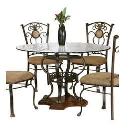 Cramco - Cramco Allegro Round Glass Top Dining Table with Golden Bronze and Oak Base - Features: