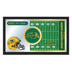 "Holland Bar Stool - Holland Bar Stool North Dakota State Football Mirror - North Dakota State Football Mirror belongs to College Collection by Holland Bar Stool The perfect way to show your school pride, our Football Mirror displays your school's symbols with a style that fits any setting.  With it's simple but elegant design, colors burst through the 1/8"" thick glass and are highlighted by the mirrored accents.  Framed with a black, 1 1/4 wrapped wood frame with saw tooth hangers, this 15""(H) x 26""(W) mirror is ideal for your office, garage, or any room of the house.  Whether purchasing as a gift for a recent grad, sports superfan, or for yourself, you can take satisfaction knowing you're buying a mirror that is proudly Made in the USA by Holland Bar Stool Company, Holland, MI.   Mirror (1)"