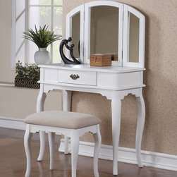 White Vanity Set with Stool by Poundex F4069 - An enchanting style of dainty decor, the Poundex white vanity set F4069 features a mirror with attached moveable extensions and a single-drawer table for storage and accessory display.
