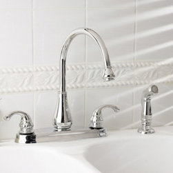 Pfister - Pfister Treviso GT36-4D Double Handle Kitchen Faucet - 519871 - Shop for Kitchen from Hayneedle.com! Brought to life by touches of classic style the Pfister Treviso GT36-4D Double Handle Kitchen Faucet has a reliable design that you'll adore. Bacteria and corrosion won't be a problem for this faucet thanks to its solid brass construction. It even provides great clearance to the basin with a high-arcing and swiveling spout. You can rinse produce and dishes with the convenient side sprayer integrated right into your countertop. A ceramic disc valve ensures that this faucet will operate drip-free even years down the line. Product Specifications: Mount Type: Deck Mount Handle Style: Lever Valve Type: Ceramic Disc Flow Rate (GPM): 1.75 Swivel: 360 degrees Spout Height: 7-inch Spout Reach: 8-inch About PfisterPfister has been one of the most trusted names in the plumbing industry since they opened their doors in 1910. Since then they have created a legacy of excellence in design and engineering that has made them an innovative leader in the industry creating superior kitchen and bath faucets fixtures and accessories. They are continually exploring ways to meet eco-friendly standards and user-friendly products that cater to the needs of our environment.