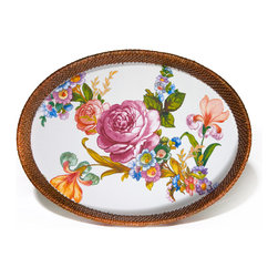 Flower Market Large Rattan & Enamel Tray - White | MacKenzie-Childs - The only thing breezier than a cool cocktail on the screened porch as the summer sun sets, is one served on one of our Flower Market Rattan & Enamel Trays. Color glazed in black, blue, green or white, each Flower Market Rattan & Enamel Tray is decorated with hand-applied fanciful botanical transfers that recall a lush English garden in the peak of summer. Artfully arranged, this entertaining tray is perfect for year-round use, indoors and out.