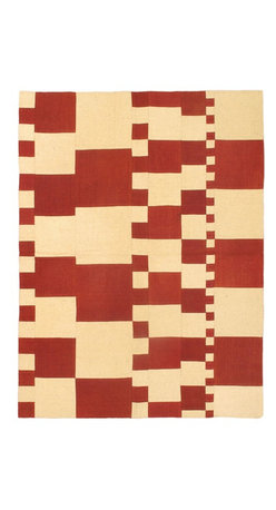 """Torabi Rugs - Flat-weave Bohemian Dark Red Wool Kilim 4'10"""" x 6'8"""" - This patchwork rug is made of vintage classic kilim pieces which are sewn together to form a truly one of a kind larger rug. This quirky and eclectic piece is painstakingly hand stitched. Light weight, this can also be used as a bedspread or throw. A colorful and updated vision of style, color and texture."""