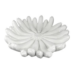 Cool Banana Bunch 13 Inch Diameter Centerpiece Bowl / Dish - This incredibly cool glossy white banana bunch bowl is perfect for using as a decorative fruit bowl in the center of your table. made of cold cast resin, the bowl measures 13 1/2 inches in diameter, and is 2 3/4 inches tall. It `s incredibly lifelike, looks great on tables, sideboards and hutches, and will certainly attract attention and comments.
