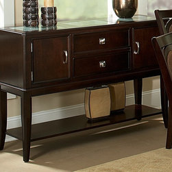 Steve Silver Co. - Montblanc Server w Cracked Glass Inserts in M - Cracked glass inserts. 2 doors & 2 drawers for all you entertaining needs. Silver finished hardware accents. Multi-step Merlot finish. Contemporary style. Corner block construction. Tongue and groove joints. Select hardwood solids material. No assembly required. 54 in. W x 18 in. D x 37.5 in. H (142 lbs.)