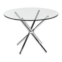 "Bellini Modern Living - Oliver Dining Table - This simple yet stylish round dining table will enhance any modern decor. Features: -Four criss-crossed tubular legs supported with a chrome band.-Stylish round shape.-Clear tempered glass.-Top Finish: Clear.-Base Finish: Chrome.-Distressed: No.-Powder Coated Finish: No.-Gloss Finish: No.-Top Material: Tempered glass.-Base Material: Stainless steel.-Number of Items Included: 1.-Non-Toxic: Yes.-UV Resistant: No.-Heat Resistant: No.-Scratch Resistant: No.-Rust Resistant: No.-Glass Component: Yes -Tempered Glass: Yes.-Beveled Glass: Yes.-Frosted Glass: No..-Leaf Included: No.-Seating Capacity: 4.-Wine Storage: No.-Shelving Included: No.-Drawers Included: No.-Stemware Holder: No.-Table Base Type: Legs.-Outdoor Use: No.-Swatch Available: No.-Commercial Use: Yes.-Recycled Content: No.Dimensions: -Overall Height - Top to Bottom: 28"".-Overall Width - Side to Side: 42"".-Overall Depth - Front to Back: 42"".-Overall Product Weight: 44 lbs.Warranty: -Product Warranty: 1 year."