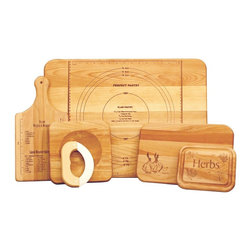 Catskill Craftsmen - Ultimate Chef's Set - Includes pastry board, herb board, Mezzaluna chopper board, cutting board with garlic brand and weights and measures paddle. Flat grain. Made from solid hardwood. Oiled finish. Made in USA. Thickness: 0.75 in.. Pastry board: 22 in. L x 16 in. W. Herb board: 7 in. L x 5.75 in. W. Chopper board: 8 in. L x 8 in. W. Cutting board: 12 in. L x 8 in. W. Paddle: 14 in. L x 7 in. WPerfect for beginners and pros alike - a great wedding gift!!!