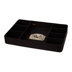 Enchante Accessories Inc - 8 Section Burlap with Bicycle Patch Rounded Corner Tray Organizer Black - Home Office Desk Top Designer Organizer CollectionBurlap with Decorative patchRounded Corners  8 Section Tracy for organizing jewelry, office supplies or just about anything smallUse as a table top organizer or in drawer sectional tray8 Section Burlap Desk Tray