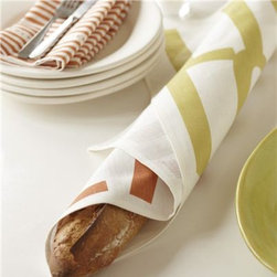 "Studio Patro Linens |  Chartreuse Tea Towel Set - Punch up your kitchen with this luxurious tea towel set. Linen becomes soft and absorbent over time and you will never want to part with them! Set includes 2 tea towels and a handmade wood spatula - perfect for giving!  The 100% linen fabric is absorbent, sturdy and becomes softer with each use. Linen is naturally sustainable, luxurious and tested for its absorbency. All designs are handprinted, one-by-one, using only water-based inks and an ecologically sound citrus-soy cleanup. Set includes (2) 18"" x 26 tea towels: LIVE LOVE EAT on oyster white linen, tea leaves on oyster white linen and a handmade small wood spatula. Tea towels are 18"" x 26"" and machine washable.  