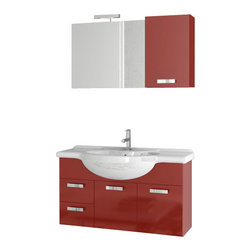 ACF - 39 Inch Glossy Red Bathroom Vanity Set - This Italian made vanity was designed for your master bathroom.